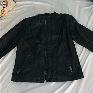Black Leather Jacket Zip-Up